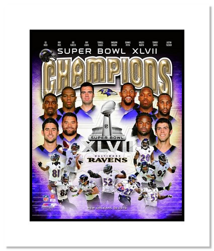 2012 Baltimore Ravens NFL Double Matted 8x10 Photograph Super Bowl XLVII Champions Collage