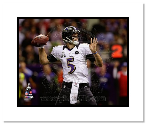 Joe Flacco Baltimore Ravens NFL Double Matted 8x10 Photograph Super Bowl XLVII Throwing