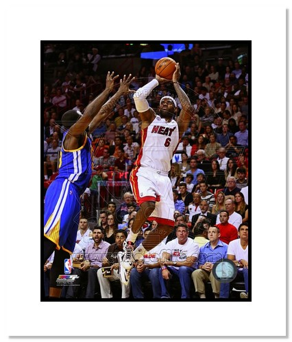LeBron James Miami Heat NBA Double Matted 8x10 Photograph Jumpshot White Jersey