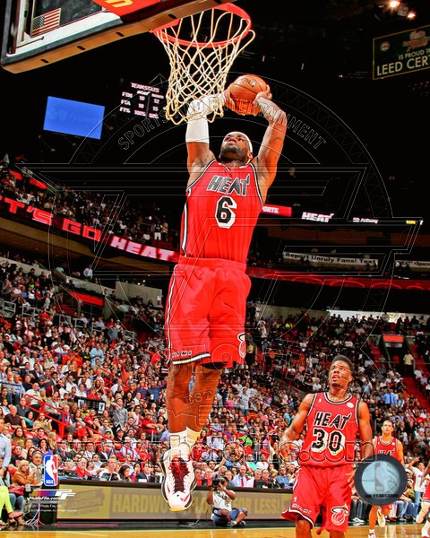 LeBron James Miami Heat NBA 8x10 Photograph Dunking Red Jersey