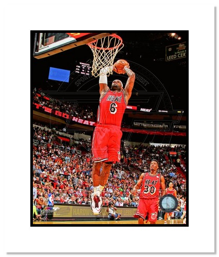 LeBron James Miami Heat NBA Double Matted 8x10 Photograph Dunking Red Jersey