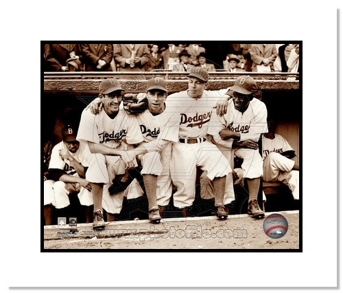 Jackie Robinson Brooklyn Dodgers MLB Double Matted 8x10 Photograph with Bat