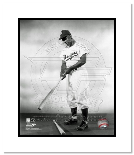 Jackie Robinson Brooklyn Dodgers MLB Double Matted 8x10 Photograph First Day Dugout