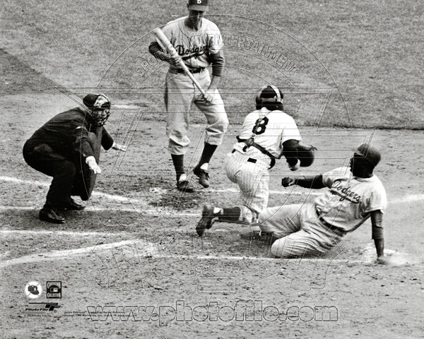 Jackie Robinson Brooklyn Dodgers MLB 8x10 Photograph Stealing Home 1955 World Series