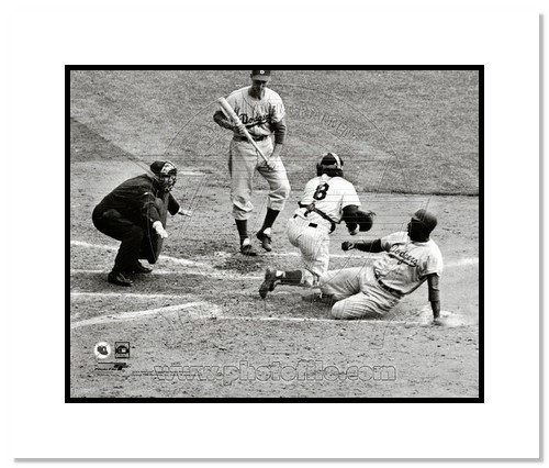 Jackie Robinson Brooklyn Dodgers MLB Double Matted 8x10 Photograph Stealing Home 1955 World Series
