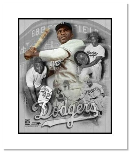 Jackie Robinson Brooklyn Dodgers MLB Double Matted 8x10 Photograph Collage
