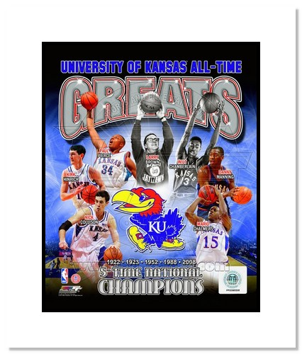 Kansas Jayhawks All Time Greats NCAA Double Matted 8x10 Photograph Champions Collage