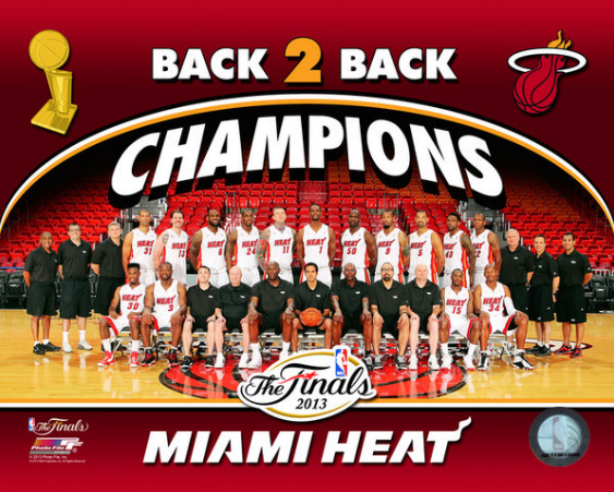 2013 Miami Heat NBA 8x10 Photograph 2013 NBA Finals Champs Team Sit Down