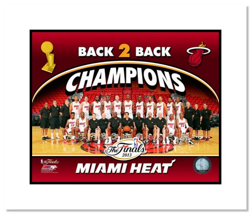 2013 Miami Heat NBA Double Matted 8x10 Photograph 2013 NBA Finals Champs Team Sit Down