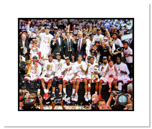2013 Miami Heat NBA Double Matted 8x10 Photograph 2013 NBA Finals Champs Team Celebration