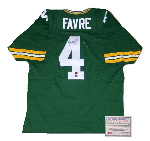 Brett Favre Green Bay Packers NFL Hand Signed Authentic Style Home Green Football Jersey
