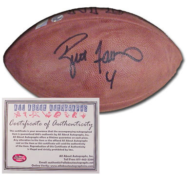 Brett Favre Green Bay Packers NFL Hand Signed Football