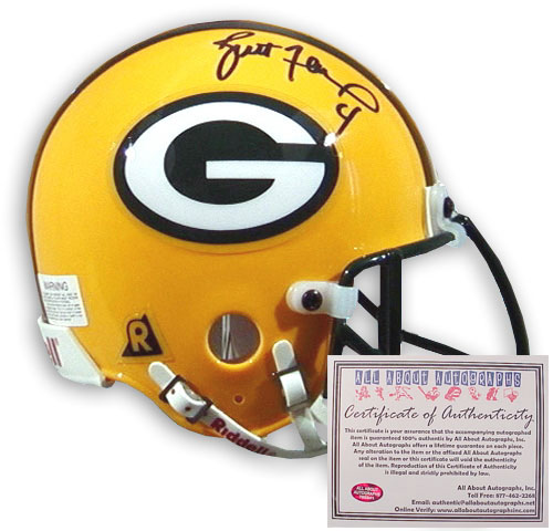 Brett Favre Green Bay Packers NFL Hand Signed Mini Replica Football Helmet
