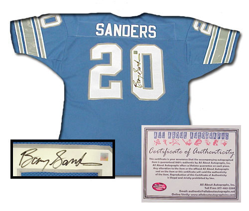 Barry Sanders Detroit Lions NFL Hand Signed Authentic Style Home Blue Football Jersey