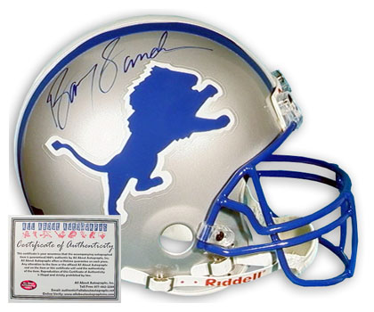 Barry Sanders Detroit Lions NFL Hand Signed Mini Replica Football Helmet