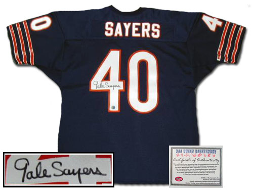 Gale Sayers Chicago Bears NFL Hand Signed Authentic Style Home Navy Jersey