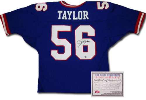 Lawrence Taylor New York Giants NFL Hand Signed Authentic Style Home Blue Football Jersey