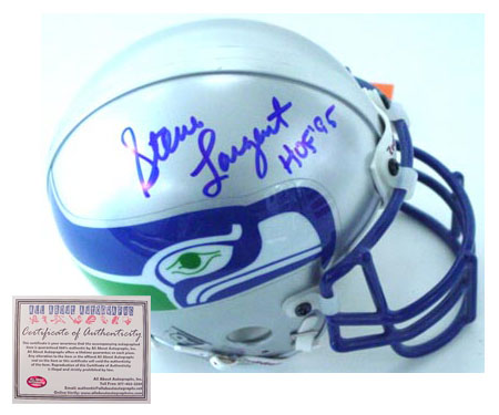 Steve Largent Seattle Seahawks NFL Hand Signed Full Size Replica Deluxe Football Helmet with HOF 95 Inscription