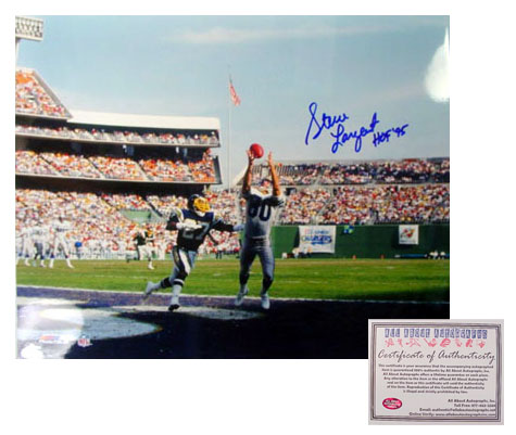 Steve Largent Seattle Seahawks NFL Hand Signed 16x20 Photograph Touchdown with HOF 95 Inscription