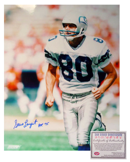 Steve Largent Seattle Seahawks NFL Hand Signed 16x20 Photograph Running with HOF 95 Inscription