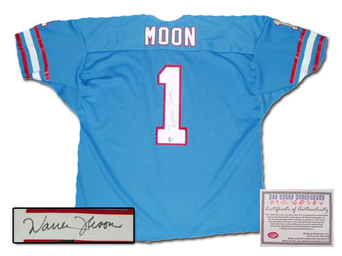 Warren Moon Houston Oilers NFL Hand Signed Authentic Style Home Blue Football Jersey