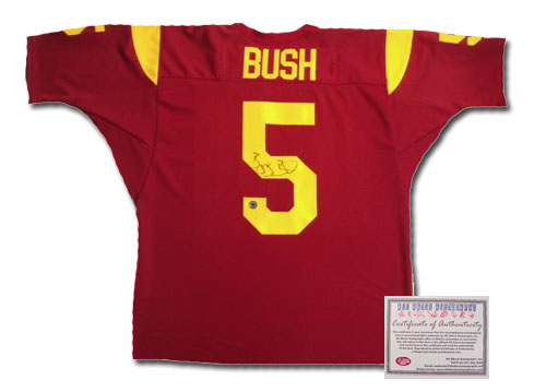 Reggie Bush USC Trojans NFL Hand Signed Authentic Style Home Red Football Jersey NCAA Football