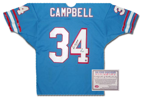 Earl Campbell Houston Oilers NFL Hand Signed Authentic Style Home Blue Football Jersey