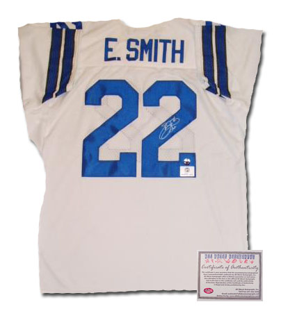 Emmitt Smith Dallas Cowboys NFL Hand Signed Authentic Style Home White Football Jersey