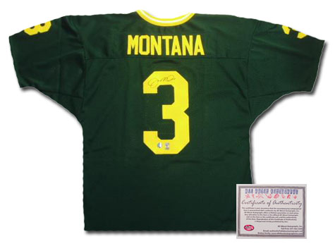 Joe Montana Notre Dame Fighting Irish NCAA Hand Signed Authentic Style Away Green Football Jersey NCAA Football