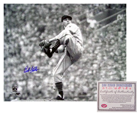 Bob Feller Cleveland Indians MLB Hand Signed 16x20 Photograph Pitching B&W