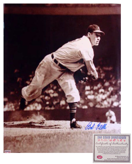 Bob Feller Cleveland Indians MLB Hand Signed 16x20 Photograph Pitching Sepia