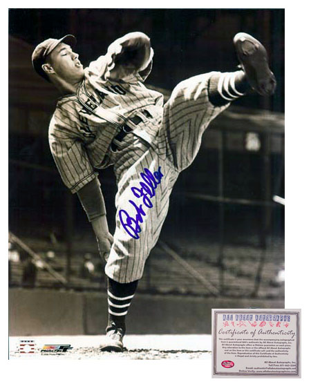 Bob Feller Cleveland Indians MLB Hand Signed 8x10 Photograph Pitching