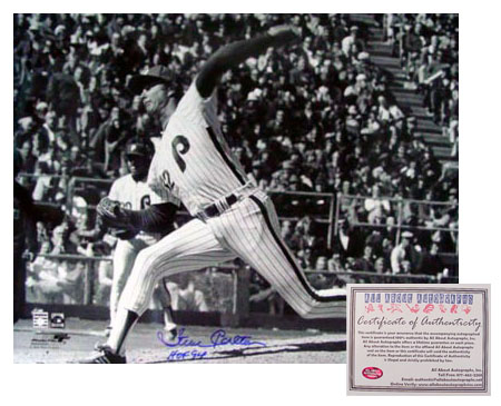 Steve Carlton Philadelphia Phillies MLB Hand Signed 16x20 Photograph B&W with HOF 94 Inscription