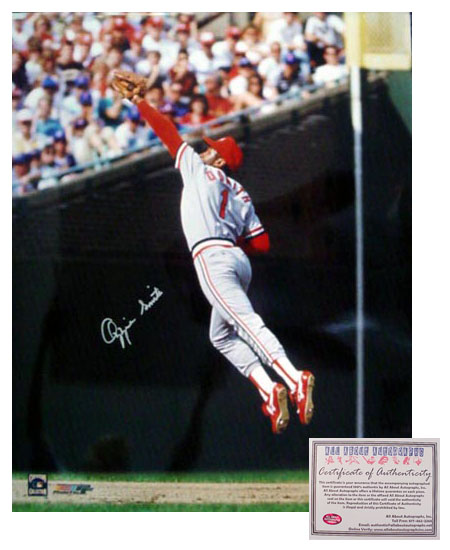 Ozzie Smith St Louis Cardinals MLB Hand Signed 16x20 Photograph Fielding