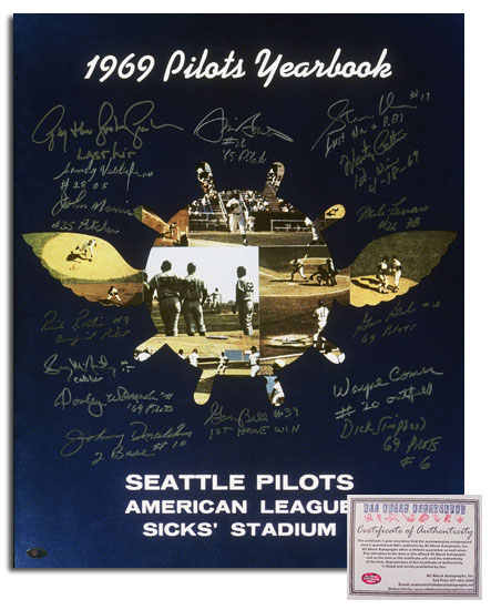 1969 Seattle Pilots MLB Team Signed 16x20 Photograph Yearbook Cover