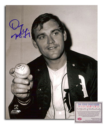 Denny McLain Detroit Tigers MLB Hand Signed 8x10 Photograph Holding Win #30 Ball