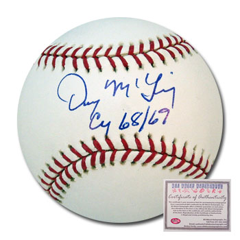 Denny McLain Detroit Tigers MLB Hand Signed Rawlings Baseball with Cy 68/69 Inscription