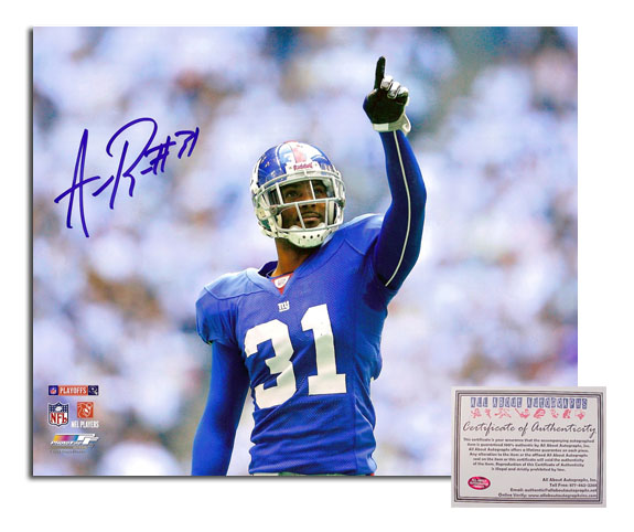 Aaron Ross NFL New York Giants Hand Signed 8x10 Photograph Pointing