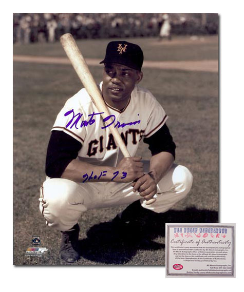 Monte Irvin San Francisco Giants Hand Signed 8x10 Photograph Pose with HOF 73 Inscription