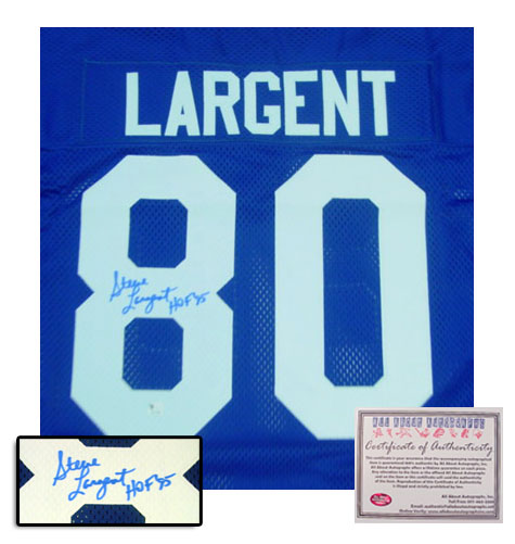 Steve Largent Seattle Seahawks NFL Hand Signed Authentic Style Blue Jersey