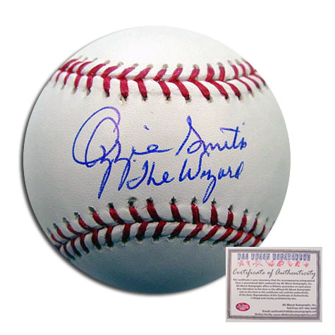 Ozzie Smith St Louis Cardinals MLB Hand Signed Rawlings MLB Baseball with The Wizard Inscription