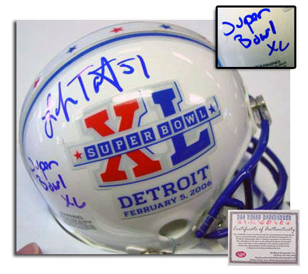 Lofa Tatupu Seattle Seahawks NFL Hand Signed Super Bowl XL Mini Helmet with Inscription