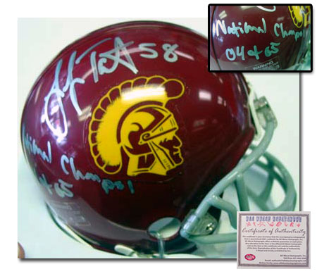 Lofa Tatupu USC Trojans Hand Signed Mini Helmet with 04 & 05 National Champs Inscription