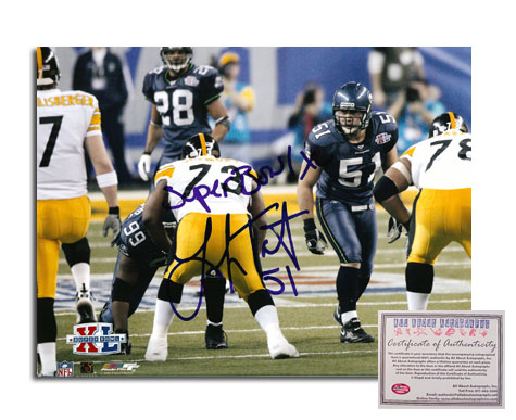 Lofa Tatupu Seattle Seahawks NFL Hand Signed 8x10 Photograph with Super Bowl XL Inscription