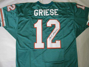 Bob Griese Miami Dolphins NFL Hand Signed Authentic Teal Jersey