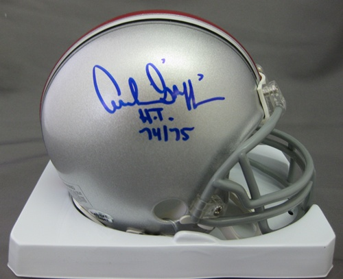 Archie Griffin Ohio State Buckeyes NCAA Hand Signed Mini Football Helmet with 74/75 HT Inscription