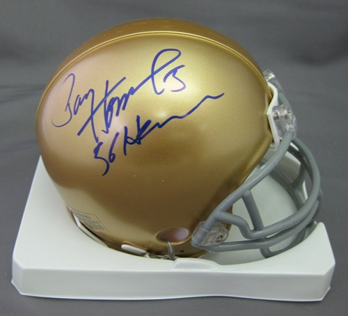Paul Hornung Notre Dame Fighting Irish NCAA Hand Signed Mini Football Helmet with 56 Heisman Inscription