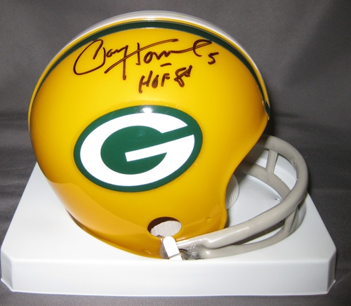 Paul Hornung Green Bay Packers NFL Hand Signed Mini Football Helmet with HOF 86 Inscription