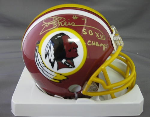 Joe Theismann Washington Redskins NFL Hand Signed Mini Football Helmet with SB Champs Inscription