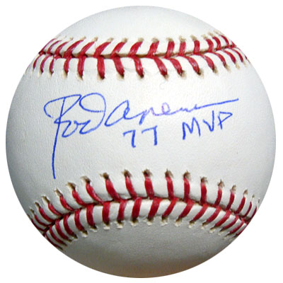 Rod Carew Anaheim Angels MLB Hand Signed Official MLB Baseball with 77 MVP Inscription